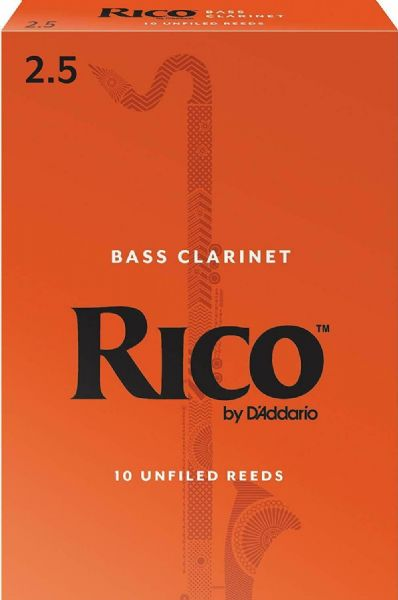 Rico 2.5 Strength Reeds for Bass Clarinet (Pack of 10) - REA1025